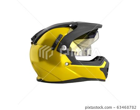 yellow motocross helmet 3d render on white 63468782