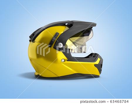 yellow motocross helmet 3d render on blue 63468784