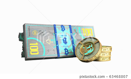 concept of bitcoin banknote and monet virtual 63468807