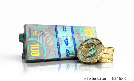 concept of bitcoin banknote and monet virtual 63468816