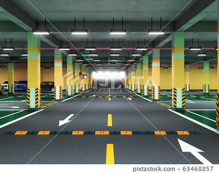 Empty modern underground parking 3d render 63468857
