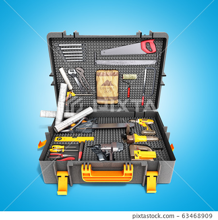 A set of tools in the case 3d render on blue 63468909