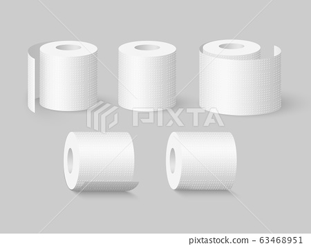Set of realistic soft toilet paper rolls. 63468951