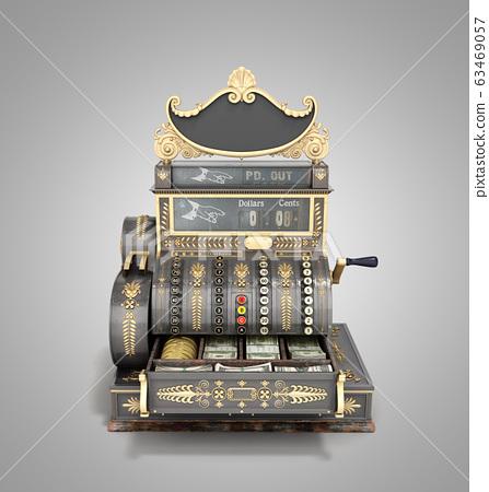 Open Old vintage cash register 3d render on grey 63469057