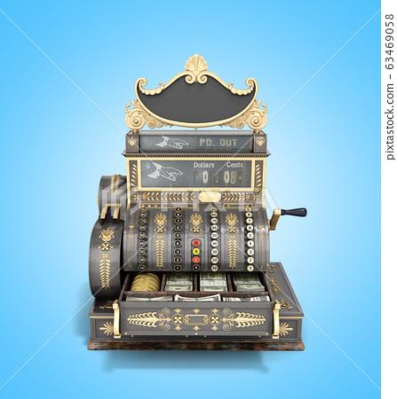Open Old vintage cash register 3d render on blue 63469058