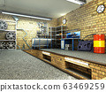 View of a Garage 3D Interior with Opened Roller 63469259