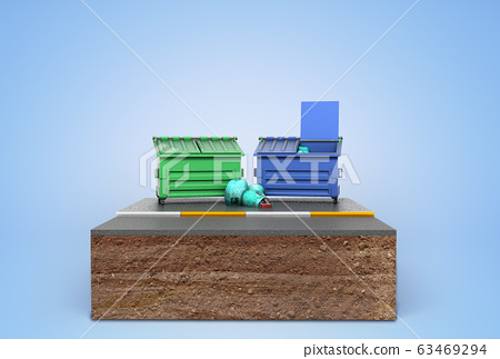 garbage cans on a piece of land 3d render on blue 63469294