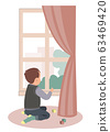 Sad little boy sitting at the window. Stay at home campaign for coronavirus prevention. Vector illustration 63469420