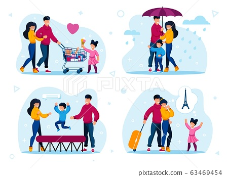 Family Active Life and Leisure Flat Vector Set 63469454