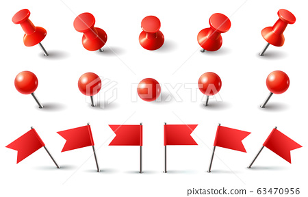 Red pushpin, flag and thumbtack. Isolated vector set 63470956
