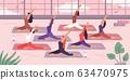 Women yoga group stretching exercise. Vector illustration 63470975