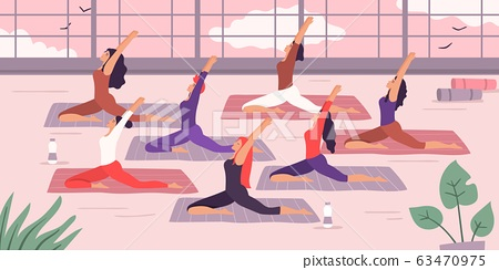Women yoga group stretching exercise. Vector illustration 63470975