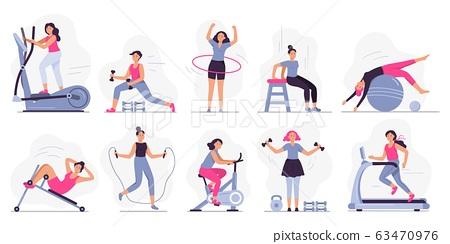 Woman at sport gym. Vector illustration set 63470976