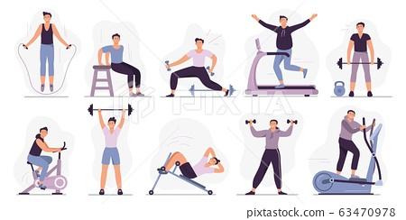 Man at sport gym. Vector illustration set 63470978