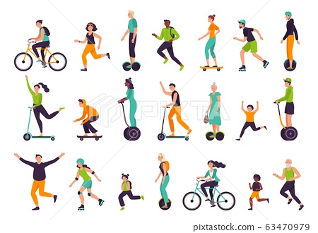 Active people. Healthy lifestyle, outdoor activities, running and jogging. Bike riding, skateboarding, rollerblading vector illustration set 63470979