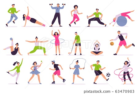 People performing sports activities. Vector illustration set 63470983