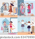 Girl looking in mirror. Women in stylish dressing room, bathroom and gym look in mirrors. Happy reflection in mirror vector illustration set 63470990