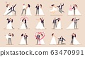 Wedding couples. Bride in wedding dress, just married couple and marriage ceremony cartoon vector illustration set 63470991