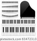 Realistic piano keys set. Musical instrument keyboard. Vector illustration. 63472313