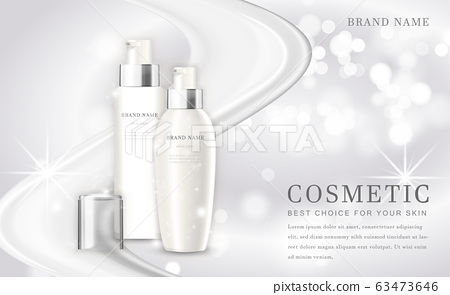 Vector 3D cosmetic make up illustration product bottle with elegant white shiny background 63473646