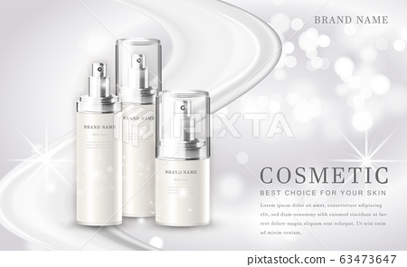 Vector 3D cosmetic make up illustration product bottle with elegant white shiny background 63473647