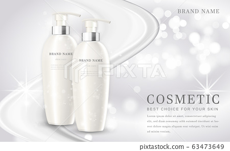 Vector 3D cosmetic make up illustration product bottle with elegant white shiny background 63473649