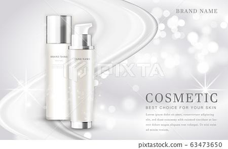 Vector 3D cosmetic make up illustration product bottle with elegant white shiny background 63473650