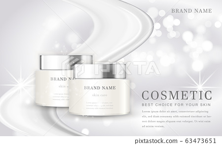 Vector 3D cosmetic make up illustration product bottle with elegant white shiny background 63473651