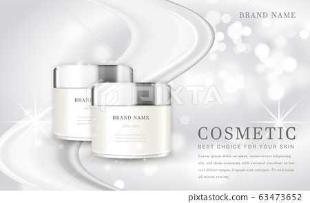 Vector 3D cosmetic make up illustration product bottle with elegant white shiny background 63473652