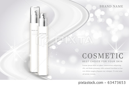 Vector 3D cosmetic make up illustration product bottle with elegant white shiny background 63473653