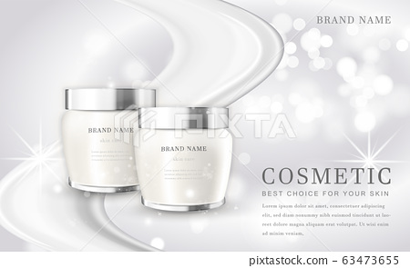Vector 3D cosmetic make up illustration product bottle with elegant white shiny background 63473655