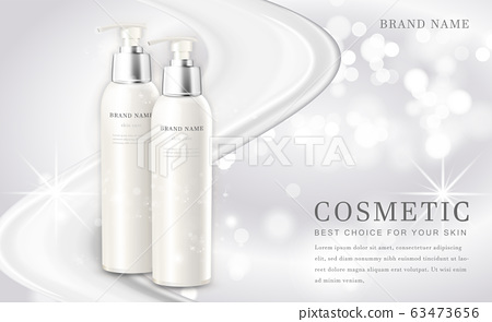 Vector 3D cosmetic make up illustration product bottle with elegant white shiny background 63473656