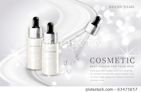 Vector 3D cosmetic make up illustration product bottle with elegant white shiny background 63473657