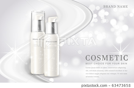 Vector 3D cosmetic make up illustration product bottle with elegant white shiny background 63473658