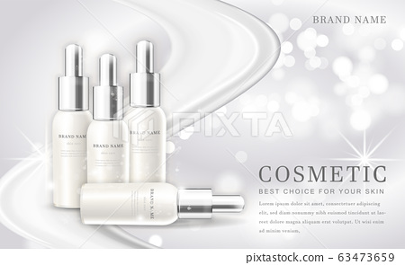 Vector 3D cosmetic make up illustration product bottle with elegant white shiny background 63473659