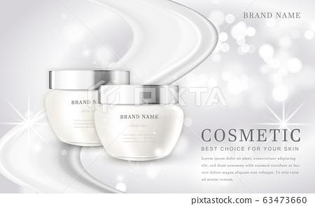 Vector 3D cosmetic make up illustration product bottle with elegant white shiny background 63473660
