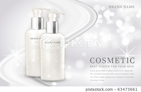 Vector 3D cosmetic make up illustration product bottle with elegant white shiny background 63473661