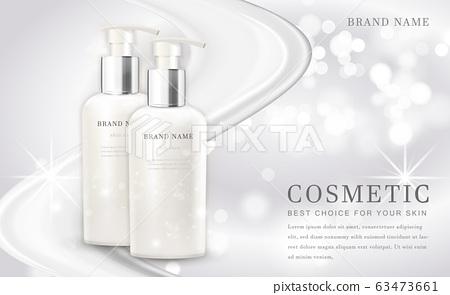 Vector 3D cosmetic make up illustration product bottle with elegant white shiny background 63473661
