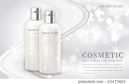 Vector 3D cosmetic make up illustration product bottle with elegant white shiny background 63473663