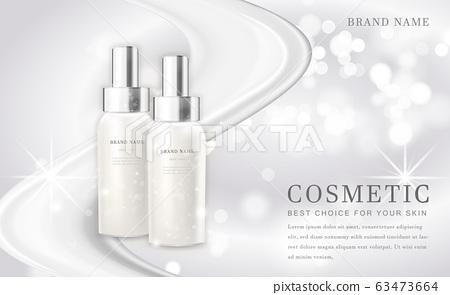 Vector 3D cosmetic make up illustration product bottle with elegant white shiny background 63473664