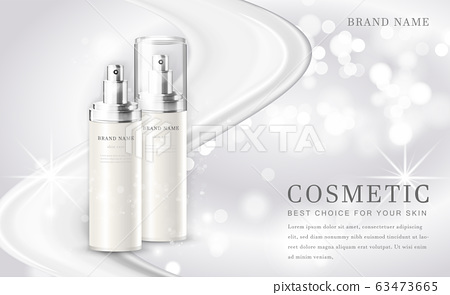 Vector 3D cosmetic make up illustration product bottle with elegant white shiny background 63473665