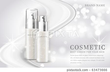 Vector 3D cosmetic make up illustration product bottle with elegant white shiny background 63473666