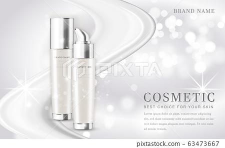 Vector 3D cosmetic make up illustration product bottle with elegant white shiny background 63473667