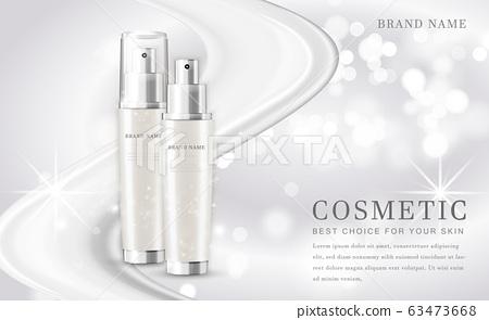 Vector 3D cosmetic make up illustration product bottle with elegant white shiny background 63473668