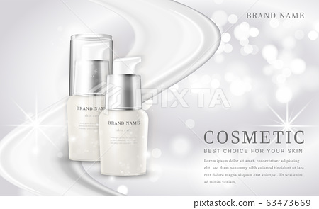 Vector 3D cosmetic make up illustration product bottle with elegant white shiny background 63473669