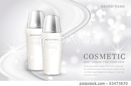 Vector 3D cosmetic make up illustration product bottle with elegant white shiny background 63473670