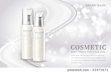 Vector 3D cosmetic make up illustration product bottle with elegant white shiny background 63473671