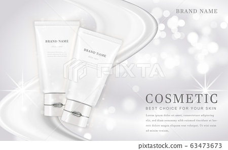 Vector 3D cosmetic make up illustration product bottle with elegant white shiny background 63473673