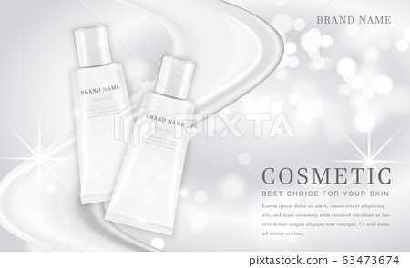 Vector 3D cosmetic make up illustration product bottle with elegant white shiny background 63473674