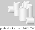 Set of kitchen towels and toilet paper rolls. 63475252